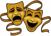 Vector Illustration Of Gold Comedy And Tragedy Theater Masks With A Gold Ribbon. poster