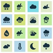 Climate Icons Set With Humidity, Light Snow Shower, Sunset And Other Sun-cloud Elements. Isolated  I poster