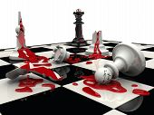 Chess Battle. The Black Pieces Won. Bloodly Chess Board With White Chess Pieces Killed And One Live  poster