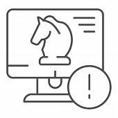 Trojan Virus Thin Line Icon. Horse On Desktop Vector Illustration Isolated On White. Computer Virus  poster