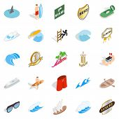 Surfing Icons Set. Isometric Set Of 25 Surfing Icons For Web Isolated On White Background poster