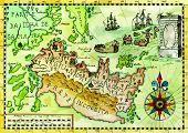 Vintage Pirate Map With Fantasy Land, Old Sailing Ships, Compass. Pirate Adventures, Treasure Hunt A poster