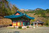 Sinheungsa Buddhist temple in Seoraksan National Park, Soraksan, South Korea poster