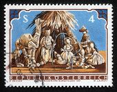 AUSTRIA - CIRCA 1981: A greeting Christmas stamp printed in the Austria shows Christmas Creche, circa 1981