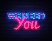 We Need You Neon Text Vector. We Need You Neon Sign, Design Template, Modern Trend Design, Night Neo poster