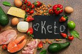 Keto Diet Food. Healthy Low Carbs Products.keto Diet Concept. Vegetables, Fish, Meat, Nuts, Seeds, S poster