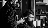 Hipster Client Getting Haircut. Barber With Hair Clipper Works On Haircut Of Bearded Guy, Retro Barb poster