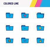 Vector Illustration Of 9 Folder Icons Colored Line. Editable Set Of Remove Folder, Protection, Searc poster