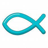 Christian Fish Symbol Icon. Cartoon Illustration Of Christian Fish Symbol Icon For Web Design poster