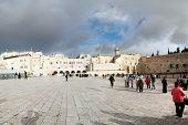 Jerusalem, Israel, December 2011 - Tourists near the Wailing Wall.