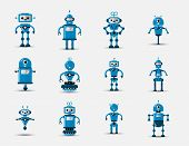 Funny Vintage Funny Vector Robot Set Icon In Flat Style Isolated On Grey Background. Vintage Illustr poster