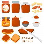 Illustration On Theme Big Colored Set Different Types Peanut Butter, Jars Various Size. Peanut Butte poster
