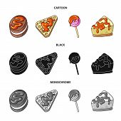 Vector Illustration Of Confectionery And Culinary Logo. Set Of Confectionery And Product Vector Icon poster