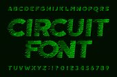 Circuit Board Font. Cyber Vector Alphabet. Digital Hi-tech Style Letters And Numbers In Green. poster