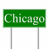 Chicago green road sign