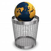Globus in Papierkorb