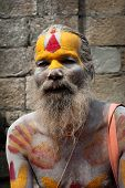 Sadhu Man, Blessing In Pashupatinath Temple