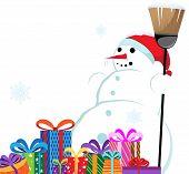 Boneco de neve em um chapéu vermelho de Santa com uma vassoura