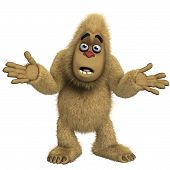 stock photo of x-files  - 3 d cartoon cute brown yeti monster - JPG