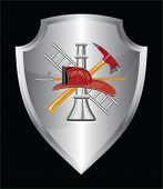 Firefighter Icon On Shield