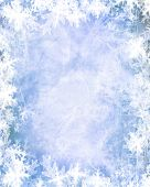 picture of snow border  - Winter background with a snow flake border