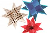 Origami Stars From Ribbons Background