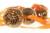 Three Golden Balls With Orange Ribbon
