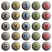 Set Of Twenty Stylish Buttons With Currency Signes