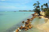 Tropical Beach And Blue Ocean On A Tropical Island