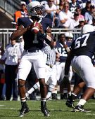 Penn State quarterback #1 Robert Bolden throws a pass