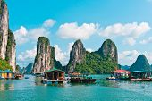 Floating Village And Rock Islands