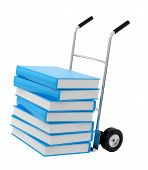 books on a hand truck