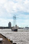 yacht goes down the river Maas