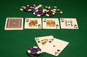 Casino Poker On Green Table