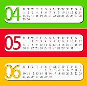 2013 Calendar - April, May, June