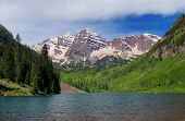 Maroon Bells Peaks and Lake