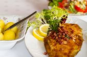 image of flounder  - festive table with flounder and potatoes dinner - JPG