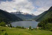 Lago Di Poschiavo Is A Natural Lake In Switzerland Alps