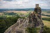 Aerial View Of Medieval Trosky Castle In Czech Republic