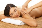 picture of spa massage  - Portrait of Fresh and Beautiful brunette woman taking massage - JPG