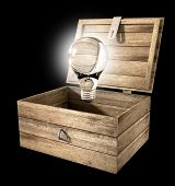 image of hasp  - An open rough wooden planked box with a hinged lid and a hasp with a regular illuminated lightbulb above it on an isolated background - JPG