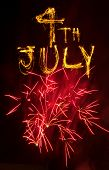 Red Fireworks And 4Th July In Sparklers