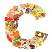 Letter C Made Of Food
