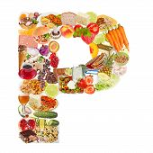 Letter P Made Of Food