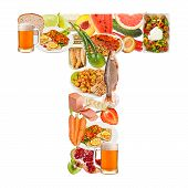 Letter T Made Of Food
