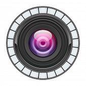 Fondo de vector de lente de cámara. EPS 10.
