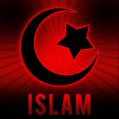 Islam Symbol in Red Black Burst Background