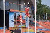 DONETSK, UKRAINE - JULY 12: Devin King (in front) and Paulo Benavides of USA compete in Pole Vault during 8th IAAF World Youth Championships in Donetsk, Ukraine on July 12, 2013