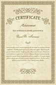 Vintage diploma or certificate on damask background