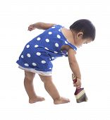 Baby Painting Color Brush On Floor Isolated White Background
